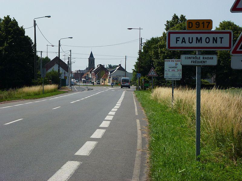 Faumont (Nord, Fr) city limit sign