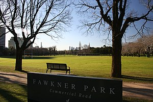 Fawkner Park, Melbourne - Fawkner Park with Melbourne central business district in the background