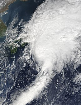 Satellite image of tropical storm