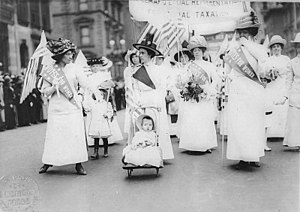 Feminism in the United States - Women's suffrage parade in New York City, May 6, 1912.