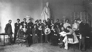 Ferruccio Busoni mit Gästen im Tempelherrenhaus im Park an der Ilm um 1903