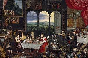 The Five Senses (pair of paintings) - The Senses of Hearing, Touch and Taste, 1618; copy c. 1620