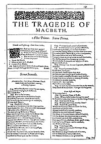 Faksimiler af første side i The Tragedie of Macbeth fra First Folio, publiceret i 1623