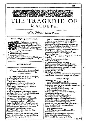 Photo of the first page of Macbeth from a facs...
