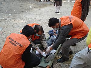 Disaster Preparedness and Response Team - DPART SAR training members of NVM ERT in First Aid and casualty handling in Islamabad, Pakistan, 2007.