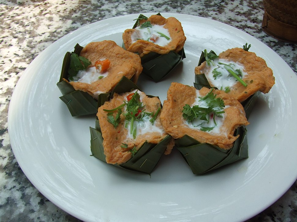 Fish with coconut milk served in banana leaf