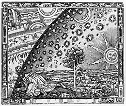 Xilografia di Camille Flammarion. sotto c'è scritto «Un missionario medievale racconta di aver trovato il punto in cui cielo e terra si incontrano...»