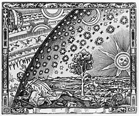 "The Flammarion engraving is a wood engraving by an unknown artist that first appeared in Camille Flammarion's L'atmosphère: météorologie populaire (1888). The image depicts a man crawling under the edge of the sky, depicted as if it were a solid hemisphere, to look at the mysterious Empyrean beyond. The caption translates to ""A medieval missionary tells that he has found the point where heaven and Earth meet..."""