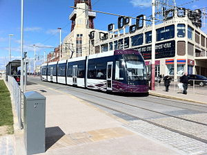 Flexity 2 (Blackpool) tram at Tower tram stop.jpg