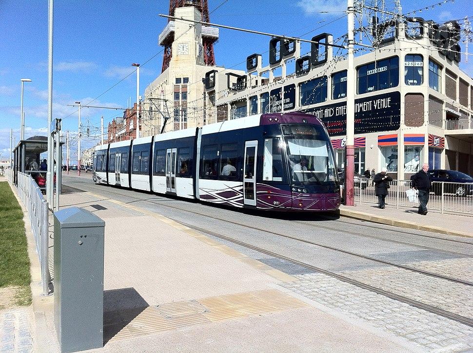 Flexity 2 (Blackpool) tram at Tower tram stop