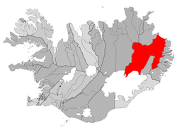 Location of the Municipality of Fljótsdalshérað
