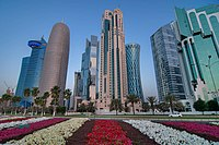 Flowerbeds near corniche in West Bay district of Doha.jpg