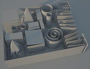 V-Ray - Folded paper: SketchUp drawing rendered using V-Ray, demonstrating shading and global illumination