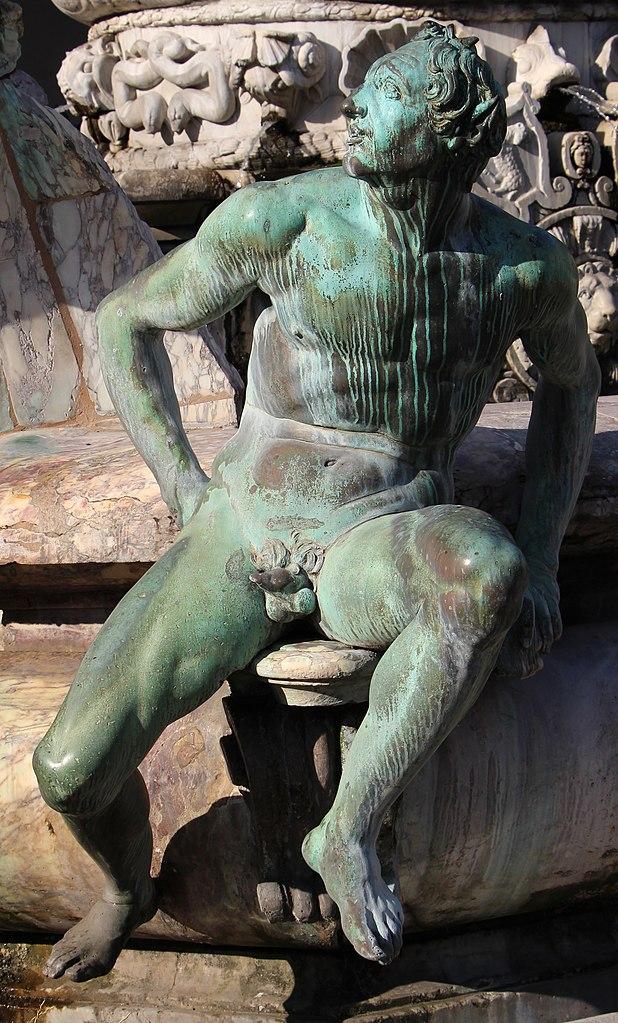 Giambologna e Bartolomeo Ammannati, Fontana del Nettuno (particolare satiro del Giambologna), Piazza della Signoria, Firenze