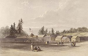 Oregon Country - Fort Vancouver in 1845.