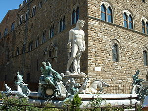 Bartolomeo Ammannati - The Fountain of Neptune (Fontana del Nettuno) on the Piazza della Signoria in Florence, Italy