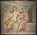 Fragment of wall painting depicting Mars and Venus, from the House of Meleager in Pompeii, Naples National Archaeological Museum (17136444089).jpg