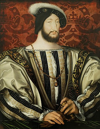 King Francis I of France; established colonies in Acadia and Canada, 1534 Francois Ier Louvre.jpg