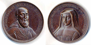 Francis de Sales - Francis de Sales and Jane Frances de Chantal, medal 1867