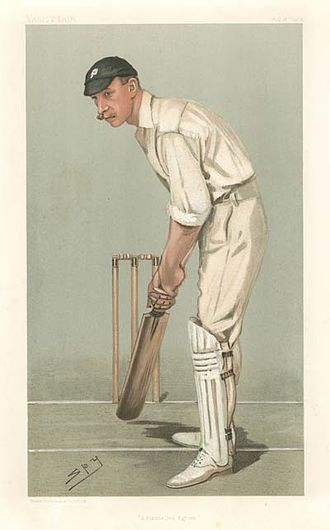 """Stanley Jackson - """"A Flannelled Fighter"""" Jackson as caricatured by Spy (Leslie Ward) in Vanity Fair, August 1902"""