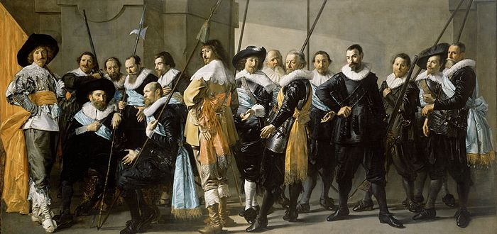 Frans Hals, later finished by Pieter Codde. De Magere Compagnie . 1637. Oil on canvas, 209 x 429 cm, Rijksmuseum Amsterdam Frans Hals, De magere compagnie.jpg