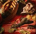 Frans snyders, natura morta con scimmie che rubano frutta, e vaso con garofani rosa, 03 scimmia con uva.jpg