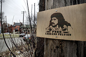 Pan-Indianism - A 'Free Leonard Peltier' sign in Detroit Michigan.(March 2009)