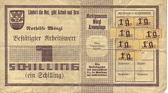Complementary currency - One Wörgl Schilling note with demurrage stamps