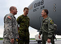 From left, U.S. Army Maj. Tracy J. Sullins, a bilateral affairs officer and deputy chief with the Office of Defense Cooperation, U.S. Embassy Tallinn, Estonia, and Estonian Air Force Commander Col. Jaak Tarien 130531-Z-YE885-002.jpg