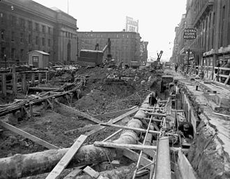 Line 1 Yonge–University - Subway excavations in front of Union Station (left) on Front Street in 1950