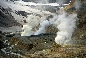 Sobolevsky District - Fumarole in Mutnovsky Volcano, Sobolevsky District, Kamchatka