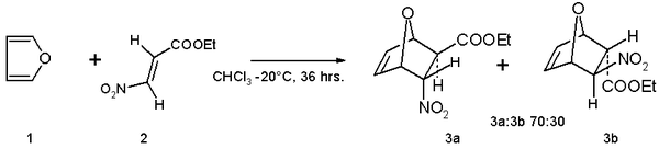 Furan Diels–Alder reaction with ethyl (E)-3-nitroacrylate