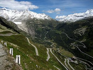 Grimsel Pass - View from the summit of the pass looking east with Gletsch in the valley below, and the Furka Pass climbing the opposite side