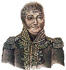 Print shows a man with large eyes, curly hair and long sideburns. He wears an early 19th century high-collared military uniform with lots of gold braid and epaulettes.
