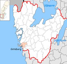 Göteborg kommunes beliggenhed i Västra Götalands amt