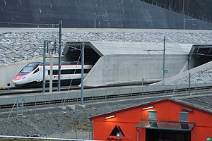 High-speed rail in Europe - SBB EuroCity entering the Gotthard Base Tunnel