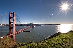 The view of the Golden Gate Bridge from the Marin Headlands. A VR panorama image is available here.