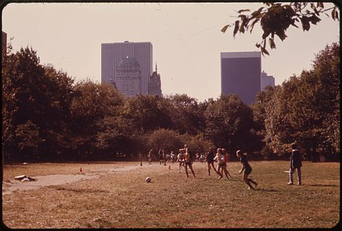 Girls playing kickball in Central Park, New York City, 1973