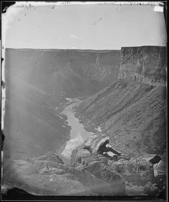 William Bell's photograph of the Grand Canyon, taken in 1872 as part of the Wheeler expedition GRAND CANYON OF THE COLORADO, MOUTH OF PARIA CREEK, LOOKING WEST FROM PLATUEAU - NARA - 524227.tif