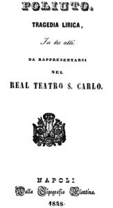 Titelblatt des Librettos, Neapel 1848