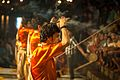 Ganga aarti with incense stick at Dasaswamedh Ghat, Varanasi 01.jpg