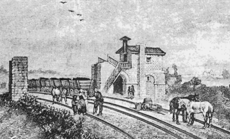 Saint-Étienne to Andrézieux Railway - An intermediate station of the line in 1836