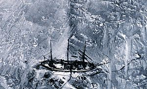 Erich von Drygalski - The Gauss enclosed in the ice. Photo taken from a balloon, the first aerial photography in Antarctica
