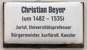 Christian Beyer - Plack outside Markt 6 Alt-Wittenberg