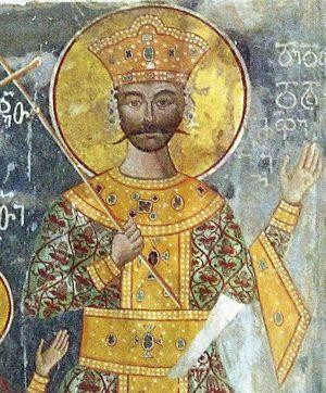 George II of Imereti - George II, a fresco from the Gelati Monastery