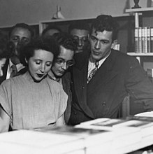 George Leite and Anaïs Nin at daliel's bookstore in Berkeley, CA, 1946.jpg