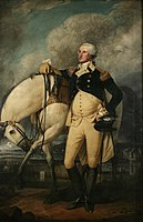American General George Washington stands in front of a white horse, with Bowling Green and the Battery in the background, on Evacuation Day, November 25, 1783