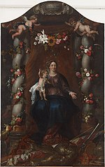 Madonna and Child Enthroned in a Fruit & Flower Garland