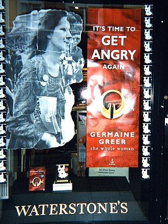 Germaine Greer - Display in the window of a Waterstone's book store for the launch of The Whole Woman