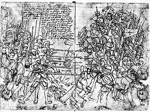 War of Deposition against King Hans - German mercenary engineer Paul Dolnstein's drawing of a Swedish peasant host fighting German mercenaries in 1501